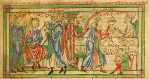Crowning of Henry in 1170 by Roger, Archbishop of York. At the celebration banquet afterwards, the Prince is waited on by his father the King.